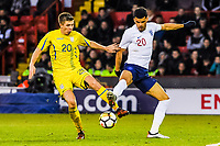 FC Shakhtar Donetsk's midfielder Oleksandr Pikhalyonok (20) for Ukraine U21's  stops Liverpool's forward Domonic Solanke (20) for England U21's during the International Euro U21 Qualification match between England U21 and Ukraine U21 at Bramall Lane, Sheffield, England on 27 March 2018. Photo by Stephen Buckley / PRiME Media Images.