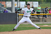 Clinton LumberKings starting pitcher Nick Wells (18) throws during a game against the Lansing Lugnuts at Ashford University Field on May 9, 2017 in Clinton, Iowa.  The Lugnuts won 11-6.  (Dennis Hubbard/Four Seam Images)