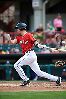 Erie SeaWolves shortstop A.J. Simcox (10) follows through on a swing during a game against the Hartford Yard Goats on August 6, 2017 at UPMC Park in Erie, Pennsylvania.  Erie defeated Hartford 9-5.  (Mike Janes/Four Seam Images)