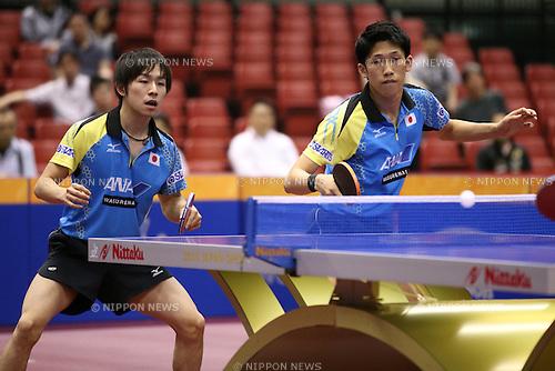 (L-R) <br /> Koki Niwa, <br /> Maharu Yoshimura (JPN), <br /> JUNE 16, 2016 - Table Tennis : <br /> ITTF World Tour, Japan Open 2016 <br /> men's doubles first round match <br /> at Tokyo Metropolitan Gymnasium, Tokyo, Japan. <br /> (Photo by AFLO SPORT)
