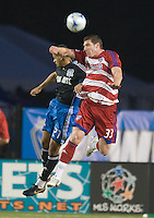Kenny Copper, right, heads the ball in front of Jason Hernandez, left. The San Jose Earthquakes tied FC Dallas 0-0, at Buck Shaw Stadium, in Santa Clara, California, Saturday, May 3, 2008. .