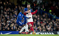 Grzegorz Krychowiak of WBA battles Ngolo Kante of Chelsea during the Premier League match between Chelsea and West Bromwich Albion at Stamford Bridge, London, England on 12 February 2018. Photo by Andy Rowland.
