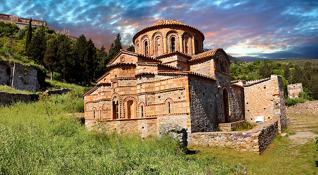 The exterior of the Byzantine Church of St Theodoroi Church. Mystras ,  Sparta, the Peloponnese, Greece. A UNESCO World Heritage Site