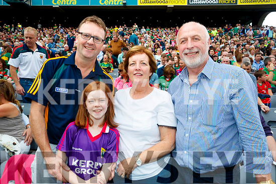 Ben Foley, Ruby Foley, Abbie Kearney and Aidan Kearney, Tralee, pictured at the Kerry v Mayo all Ireland semi-final re-play in Croke Park, on Saturday last.