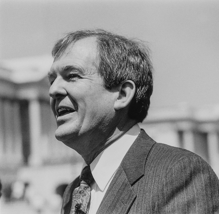 Rep. Richard H. Stallings, D-Idaho, announcing that he is entering 1992 Senate race on April 23, 1991. (Photo by Maureen Keating/CQ Roll Call)