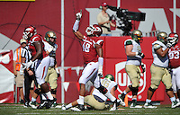 NWA Media/Michael Woods --10/25/2014-- w @NWAMICHAELW...University of Arkansas defender Deatrich Wise Jr celebrates after the Razorback defense stops the UAB offense on a 4th and goal attempt in the 4th quarter of Saturday's game at Razorback Stadium in Fayetteville.