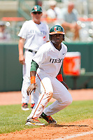 Chantz Mack #2 of the Miami Hurricanes takes his lead off of third base against the Georgia Tech Yellow Jackets at the 2012 ACC Baseball Championship at NewBridge Bank Park on May 27, 2012 in Winston-Salem, North Carolina.  The Yellow Jackets defeated the Hurricanes 8-5.  (Brian Westerholt/Four Seam Images)