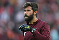 Liverpool's Alisson Becker during the pre-match warm-up <br /> <br /> Photographer Rich Linley/CameraSport<br /> <br /> UEFA Champions League Semi-Final 2nd Leg - Liverpool v Barcelona - Tuesday May 7th 2019 - Anfield - Liverpool<br />  <br /> World Copyright &copy; 2018 CameraSport. All rights reserved. 43 Linden Ave. Countesthorpe. Leicester. England. LE8 5PG - Tel: +44 (0) 116 277 4147 - admin@camerasport.com - www.camerasport.com