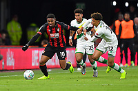 Jordon Ibe of AFC Bournemouth holds off Jamal Lewis of Norwich City during AFC Bournemouth vs Norwich City, Caraboa Cup Football at the Vitality Stadium on 30th October 2018