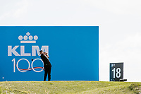 Thomas Pieters (BEL) in action on the 18th hole during the 2nd round at the KLM Open, The International, Amsterdam, Badhoevedorp, Netherlands. 13/09/19.<br /> Picture Stefano Di Maria / Golffile.ie<br /> <br /> All photo usage must carry mandatory copyright credit (© Golffile | Stefano Di Maria)