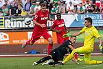 20.07.2019, Heinz Detmar Stadion, Lohne, Interwetten Cup 1. FC Köln vs SV Werder Bremen<br /> <br /> im Bild / picture shows <br /> Marco Friedl (Werder Bremen #32)<br /> Simon Terodde (Koeln 09)<br /> Jiri Pavlenka (Werder Bremen #01)<br /> Foto © nordphoto / Kokenge
