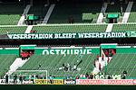 """10.08.2019, wohninvest WESERSTADION, Bremen, GER, DFB-Pokal, 1. Runde, SV Atlas Delmenhorst vs SV Werder Bremen<br /> <br /> im Bild<br /> Banner """"Weserstadion bleibt Weserstadion"""" - Fanprotest der Werder-Fans zum Stadionnamen-Verkauf / Umbenennung"""", <br /> <br /> vor DFB-Pokal Spiel zwischen SV Atlas Delmenhorst und SV Werder Bremen im wohninvest WESERSTADION, <br /> <br /> Foto © nordphoto / Ewert"""
