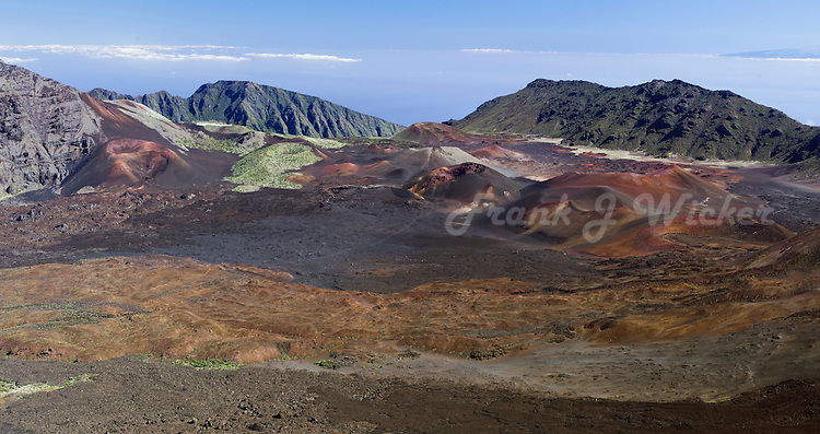 Dynamic visual evidence of the many lava flows that have created this desolate landscape in the crater of Haleakala National Park on Maui in Hawaii