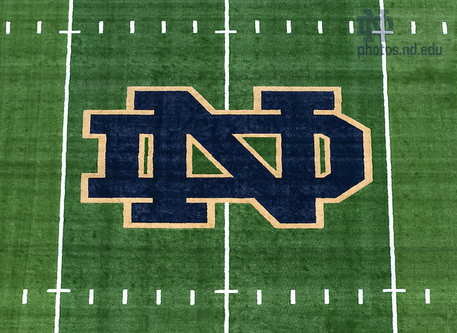 Jul. 30, 2014; Monogram at the center of the football field in Notre Dame Stadium.<br /> <br /> Photo by Matt Cashore/University of Notre Dame