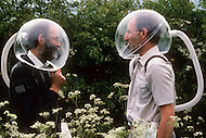 Pershore, England May, 20th, 1988. Helmet made for highly alergic people. On the left,  R.H. Hinchliffe, the inventor.