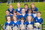 FUN TIME: Young football stars from Currow enjoying the Kerry GAA VHI Cul Camp in Currow on Friday last..Front L/r. Laura O'Connell, Ellen Daly, Fay Conway, Roisin Scanlon, Leona mcEnery..Second row L/r. Amy Galwey, Kathleen O'Sullivan, Hannah O'Connor, Michhaella Breen..Back L/r. Rachel O'Connor, Paula Fleming, Joanne McCarthy and Sinead Warren (Gneeveguilla).   Copyright Kerry's Eye 2008