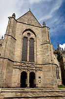 Gothic facade of the Saint-Malo Cathedral, Saint-Malo, Brittany, France.