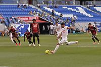 4th July 2020; Lyon, France; French League 1 friendly due to the Covid-19 pandemic forced league ending;  Houssem Aouar (lyon) takes a penalty kick