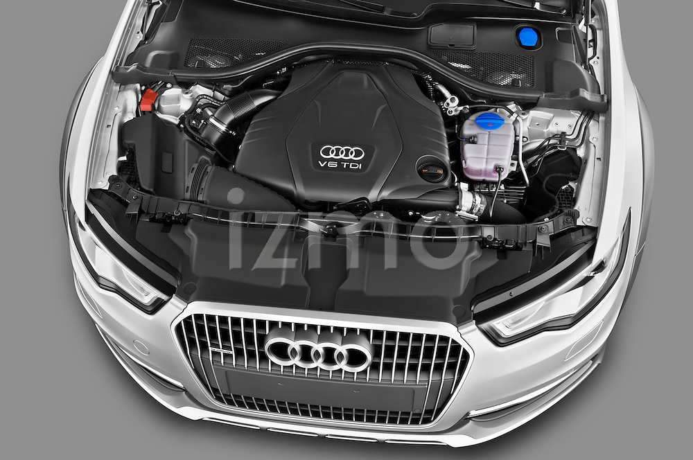 High angle engine detail of a 2013 Audi A6 Allroad Quattro Wagon