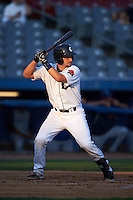 Connecticut Tigers catcher Shane Zeile (59) at bat during the first game of a doubleheader against the Brooklyn Cyclones on September 2, 2015 at Senator Thomas J. Dodd Memorial Stadium in Norwich, Connecticut.  Brooklyn defeated Connecticut 7-1.  (Mike Janes/Four Seam Images)