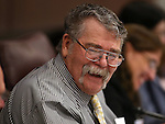 Nevada Sen. Pete Goicoechea, R-Eureka, works in committee at the Legislative Building in Carson City, Nev., on Thursday, March 26, 2015. <br /> Photo by Cathleen Allison