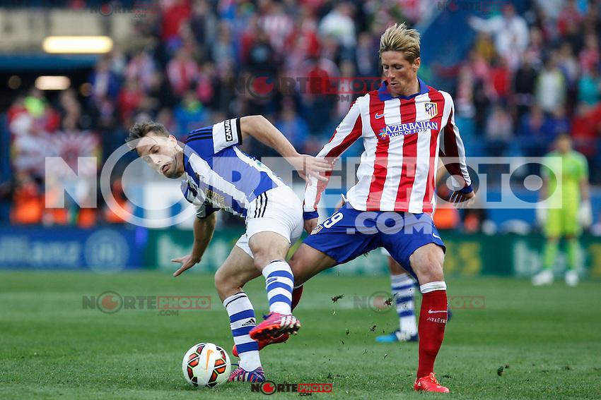 Atletico de Madrid´s Fernando Torres (R) and Real Sociedad´s Canales during La Liga match at Vicente Calderon stadium in Madrid, Spain. April 07, 2015. (ALTERPHOTOS/Victor Blanco) /NORTEphoto.com