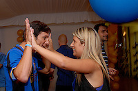 Javier Zanetti, capitano Inter, festa scudetto 2009, con la moglie Paola,