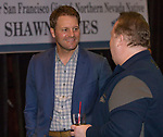 Shawn Estes talks with Nevada baseball supporters during the 35th Annual Bobby Dolan Baseball Dinner in the Reno Ballroom on Thursday, January 17, 2019.