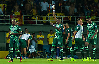 PEREIRA - COLOMBIA, 10-06-2019: Duvan Sanchez de Cortulua celebra después el primer gol de su equipo durante partido entre Deportivo Pereira y Cortuluá por la final vuelta de la Liga Águila 2019 I jugado en el estadio Hernán Ramírez Villegas de la ciudad de Pereira. / Duvan Sanchez of Cortulua celebrates after scoring the first goal of his team during second leg final match between Deportivo Pereira and Cotulua for the Aguila Tournament 2019 I played at the Hernan Ramirez Villegas stadium in Pereira city.  Photo: VizzorImage/ Juan Torres / Cont