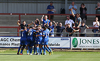 Wimbledon's Joe Pigott is swamped by team-mates as he celebrates scoring the only goal of the game<br /> <br /> Photographer Stephen White/CameraSport<br /> <br /> The EFL Sky Bet League One - Fleetwood Town v AFC Wimbledon - Saturday 4th August 2018 - Highbury Stadium - Fleetwood<br /> <br /> World Copyright &copy; 2018 CameraSport. All rights reserved. 43 Linden Ave. Countesthorpe. Leicester. England. LE8 5PG - Tel: +44 (0) 116 277 4147 - admin@camerasport.com - www.camerasport.com