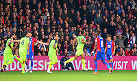 Liverpool Players celebrate their 3rd goal during the EPL - Premier League match between Crystal Palace and Liverpool at Selhurst Park, London, England on 29 October 2016. Photo by Steve McCarthy.