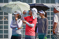 Avid golf fans attempt to stay cool and hydrated during Thursday's first round of the 72nd U.S. Women's Open Championship, at Trump National Golf Club, Bedminster, New Jersey. 7/13/2017.<br /> Picture: Golffile | Ken Murray<br /> <br /> <br /> All photo usage must carry mandatory copyright credit (&copy; Golffile | Ken Murray)
