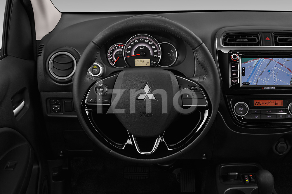 Car pictures of steering wheel view of a 2019 Mitsubishi Spacestar Invite 5 Door Hatchback Steering Wheel