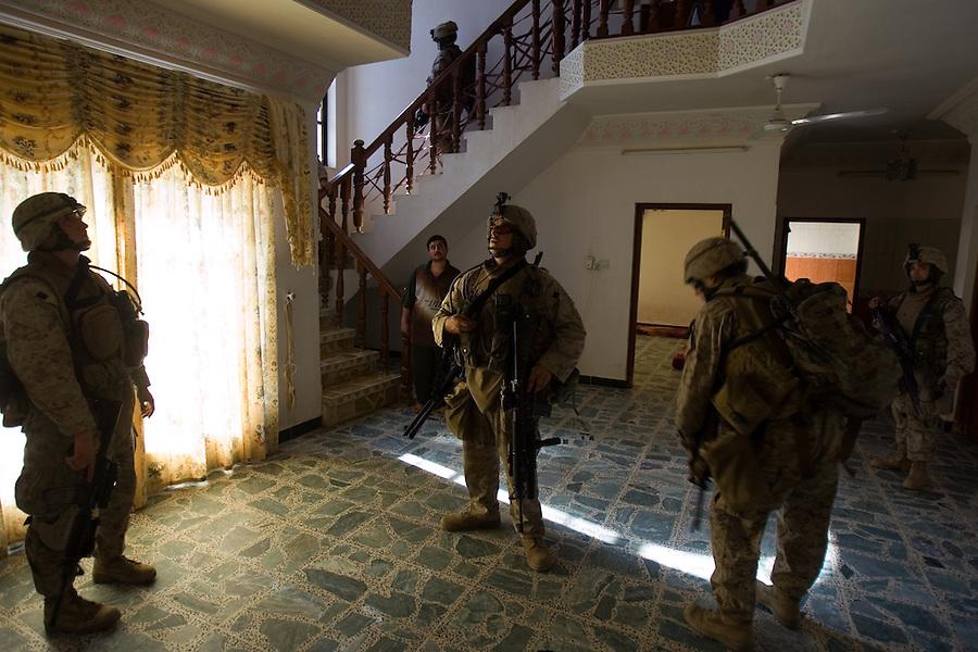 Marines  from Alpha Co. 1st Battalion 6th Marines patrol in Ramadi, Iraq on Fri. Oct. 13, 2006.<br />