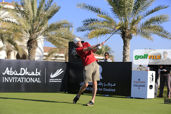 Ian Harvey tees off the 10th tee to start his match during the 2015 Abu Dhabi Invitational Am-Am event held at Yas Links Golf Course, Abu Dhabi.: Picture Eoin Clarke, www.golffile.ie: 1/26/2015