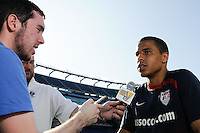 Charlie Davies of the USMNT is interviewed after the USA men's national team training for the CONCACAF Gold Cup at Gillette Stadium in Foxboro, MA, on July 10, 2009.