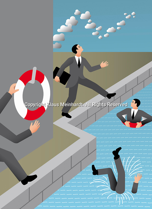 Businessmen with head in the clouds falling in water