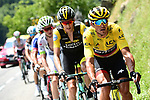 The breakaway group including race leader Yellow Jersey Greg Van Avermaet (BEL) BMC Racing Team during Stage 10 of the 2018 Tour de France running 158.5km from Annecy to Le Grand-Bornand, France. 17th July 2018. <br /> Picture: ASO/Alex Broadway | Cyclefile<br /> All photos usage must carry mandatory copyright credit (&copy; Cyclefile | ASO/Alex Broadway)