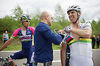 2013 World Champion Rui Costa (POR/Lampre-Merida) crashed on a downhill and had to abandon the race.<br /> Luckely for him he only suffered some minor bruises and quite some roadrash.<br /> <br /> Liège-Bastogne-Liège 2014