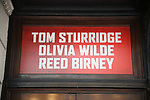 Theatre Marquee Unveiling for 1984'  starring Tom Sturbridge, Olivia Wilde and Reed Birney at the Hudson Theatre on May 12, 2017 in New York City.
