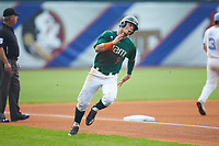 Carl Chester (9) of the Miami Hurricanes rounds third base during the game against the North Carolina Tar Heels in the second semifinal of the 2017 ACC Baseball Championship at Louisville Slugger Field on May 27, 2017 in Louisville, Kentucky. The Tar Heels defeated the Hurricanes 12-4. (Brian Westerholt/Four Seam Images)