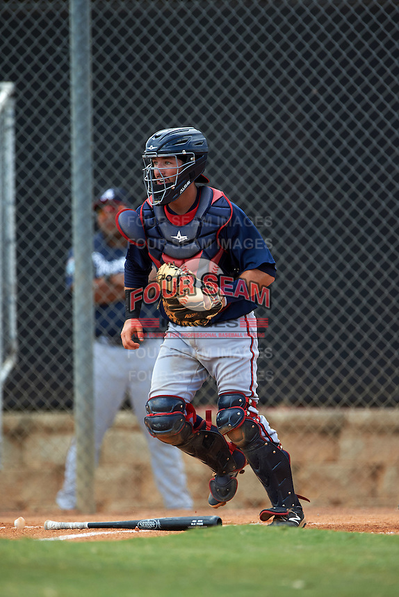 Atlanta Braves catcher Brett Cumberland (71) during an Instructional League game against the Houston Astros on September 26, 2016 at Osceola County Stadium Complex in Kissimmee, Florida.  (Mike Janes/Four Seam Images)