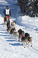Lance Mackey on Long Lake at the Re-Start of the 2012 Iditarod Sled Dog Race