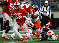 Ohio State Buckeyes running back Mike Weber (25) runs the ball during the first quarter of a NCAA college football game between the Ohio State Buckeyes and the Illinois Fighting Illini on Saturday, November 18, 2017 at Ohio Stadium in Columbus, Ohio. [Joshua A. Bickel/Dispatch]