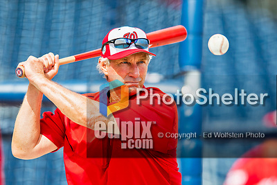 28 February 2017: Washington Nationals Bench Coach Chris Speier taps out practice grounders prior to the inaugural Spring Training game between the Washington Nationals and the Houston Astros at the Ballpark of the Palm Beaches in West Palm Beach, Florida. The Nationals defeated the Astros 4-3 in Grapefruit League play. Mandatory Credit: Ed Wolfstein Photo *** RAW (NEF) Image File Available ***
