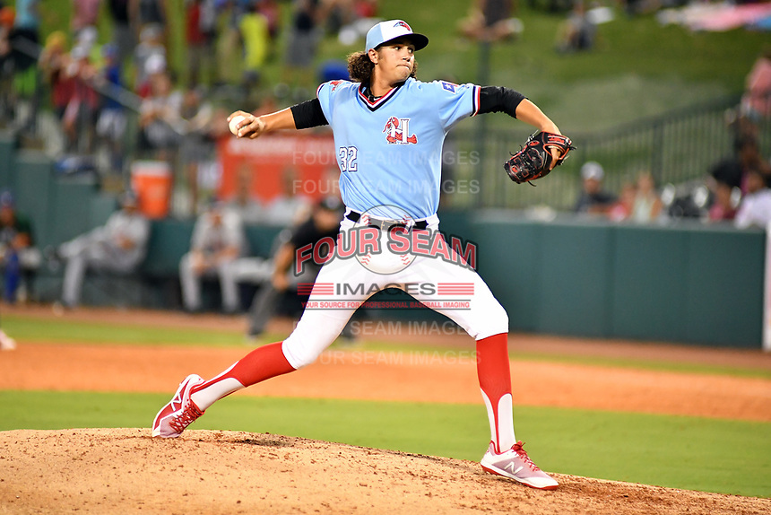 Northern Divisions pitcher Tyler Phillips (32) of the Hickory Crawdads delivers a pitch during the South Atlantic League All Star Game at First National Bank Field on June 19, 2018 in Greensboro, North Carolina. The game Southern Division defeated the Northern Division 9-5. (Tony Farlow/Four Seam Images)