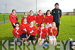 Allianz Cumann na mBunscol Hurling Finals at Abbeydorney GAA on Monday.Pictured Glenderry NS -  Front l-r Shauna Casey, Fiona Quirke, Ava Griffin, Erica Lucid, Maria Dunne, Back l-r Sarah Healy, Laura Reidy, Clodagh Donnelly, Jessica Kenny, Leanna Roche, Gerald Pierce (Coach)