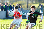 Noel Duggan Kilcummin goes past Cain Bradley Listry during their East Kerry Championship clash in Kilcummin on Saturday