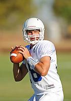Sept. 16, 2009; Casa Grande, AZ, USA; California Redwoods quarterback (18) Liam O'Hagan during training camp at the Casa Grande Training Facility & Performance Institute. Mandatory Credit: Mark J. Rebilas-