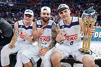 Real Madrid's Luka Doncic, Jeffery Taylor and Jonas Maciulis during Quarter Finals match of 2017 King's Cup at Fernando Buesa Arena in Vitoria, Spain. February 19, 2017. (ALTERPHOTOS/BorjaB.Hojas)